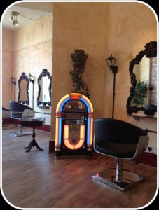 Retro jukebox at janelli Hair and beauty Falmouth Cornwall
